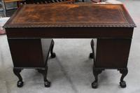 1940s Mahogany Desk with Brown Leather Inset.1 Piece (5 of 5)