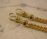 Vintage Pocket Watch Chain 1950s 14ct Rolled Gold Double Albert With Sliding T Bar (10 of 11)