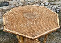 Antique Victorian Octagonal Bamboo Rattan Table (6 of 9)