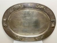 Large Danish Sporting Victorian 19th Century Danish Silver Plate Salver (24 of 31)