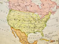 """Large University Chart """"Political Map of North America"""" by Bacon (3 of 6)"""