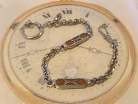 Pocket Watch Chain 1930s German Art Deco Silver Chrome & Goldstone Albert Nos (3 of 12)