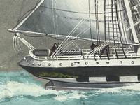 """Edwardian Watercolour """"Champion Of The Seas"""" Ship Black Ball Line Off Cape of Good Hope Signed Pierhead Artist Williams (20 of 39)"""