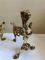 Pair of Vintage Brass Fire Dogs Winged Lions (6 of 10)