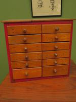 Antique Miniature Scratch Built Bank of Drawers, made from Jamaican Cigar Boxes (2 of 19)