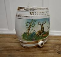 Large Painted Ceramic Scotch Whiskey Barrel, Stag at Bay (3 of 5)
