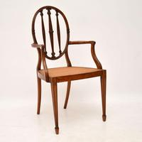 Pair of Antique Satinwood Cane Seated Armchairs (2 of 12)