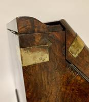 Victorian Burr Walnut Brass Bound Desktop Stationery Cabinet (14 of 15)