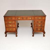 Large Antique Walnut Leather Top Pedestal Desk (11 of 12)