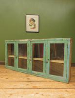 Antique Glazed Wooden Indian Wall Cabinet with Chippy Old Turquoise Paint (16 of 18)