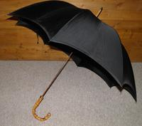 Antique 18 Carat Gold Plate Black Cotton Canopy Umbrella W/Whangee Bamboo Handle (3 of 12)