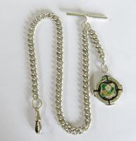 Antique Silver Watch Chain with Military Fob