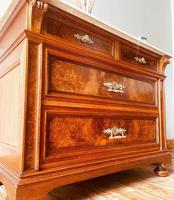 Burr Walnut Chest of Drawers / French Antique Style Commode with Marble (2 of 7)