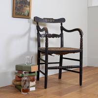 Ebonised & Painted Antique Regency Country Armchair - Original Piece