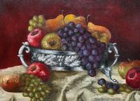 Fabulous 1960 Vintage Antique Still Life Of Fruit Study Oil On Canvas Painting (3 of 12)