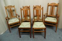 Set of 6 Oak Arts & Crafts Dining Chairs (7 of 7)