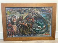 Expressionist Scottish Oil Painting Fishermen Hauling The Nets by Archibald Peddie Glasgow School of Art (2 of 37)