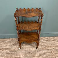 Fine Quality Small Victorian Figured Walnut Antique Whatnot (4 of 5)