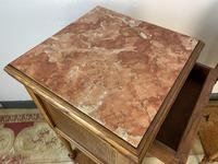 Antique French Bedside Cabinets Marble Tops Walnut Pot Cupboards (6 of 12)