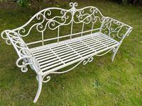 Large French Art Deco Style Fleur De Lis Garden Double Bowed  Curved Bench Seats 3 (31 of 37)