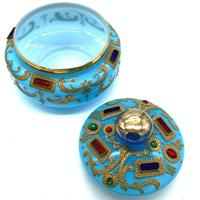 Very Important Rare Large Opaline Glass Box in Turquoise for the Oriental Market (2 of 5)