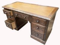 Good Quality Victorian Oak Pedestal Desk (5 of 7)