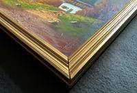 The Three Peaks 20thc Vintage Swiss School - Mountainous Landscape Oil Painting (11 of 12)