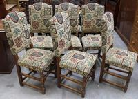 1940's Set 6 Oak High Back Dining chairs with Heraldic Upholstery (3 of 4)