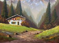 The Alpine Chalet - Swiss School - A Vintage Snow-capped Landscape Oil Painting (6 of 12)