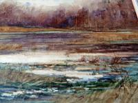Fine Large  19th Century English School Watercolour - Wooded Marshland Scene. (4 of 5)