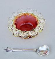 Victorian Cranberry & Uranium Glass Salt with Victorian Silver Salt Spoon, Chester 1896 (3 of 5)
