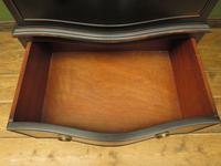 Black Painted Antique Reproduction Serpentine Chest of Drawers, Office Chest (5 of 18)