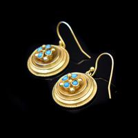 Antique Victorian Round Turquoise Gold on Silver Drop Earrings (3 of 6)