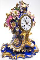 Antique 8 Day Porcelain Mantel Clock Sevres Blue Floral French Mantle Clock (4 of 6)