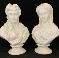 Pair of Victorian Parian Busts c.1900