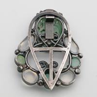 Arts & Crafts Dorrie Nossiter Clip, Rare Jade, Moonstone & Chrysoprase (3 of 3)