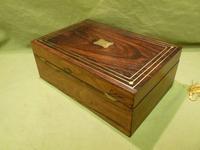 Inlaid Unisex Rosewood Jewellery Box + Tray. c1835 (6 of 12)