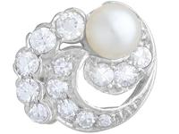 Cultured Pearl, 0.92ct Diamond, Platinum & 18ct White Gold Clip on Earrings - Vintage c.1950 (2 of 9)