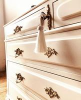 Antique Style Chest of Drawers with Marble Gallery / Grey Drawers (3 of 7)