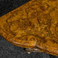 Victorian Burr Walnut Card Table with Green Baize (3 of 12)