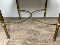 French Brass Square Leather Top Coffee Table (15 of 28)