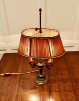 French Empire Style Brass Desk Lamp with Rose Pink Shade