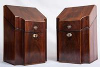 Antique Pair of George III Mahogany Knife Boxes, 1760-1820