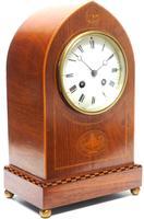 Incredible French Inlaid Lancet Mantel Clock Multi Wood Inlay 8 Day Striking Mantle Clock (2 of 10)