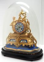 Stunning Complete French Mantel Clock Under Dome with Base Figural Sevres Mantle Clock. (3 of 10)