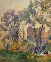 Outstanding 20thc Signed Autumn Landscape Castle Ruin Watercolour Painting (9 of 11)