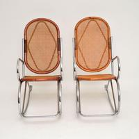 1970's Pair of Retro  Chrome & Bamboo Rocking Chairs (3 of 13)