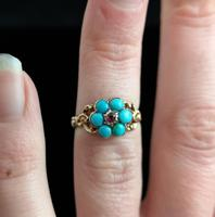 Antique Georgian mourning ring, Ruby and turquoise (4 of 10)