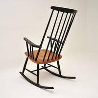 1960's Vintage Ebonised Elm Rocking Chair (5 of 11)