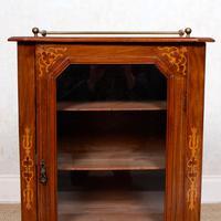 Music Cabinet Glazed Inlaid Walnut Bookcase 19th Century (9 of 10)